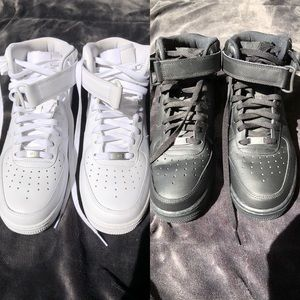 nike air force 1 mid's (black and white)